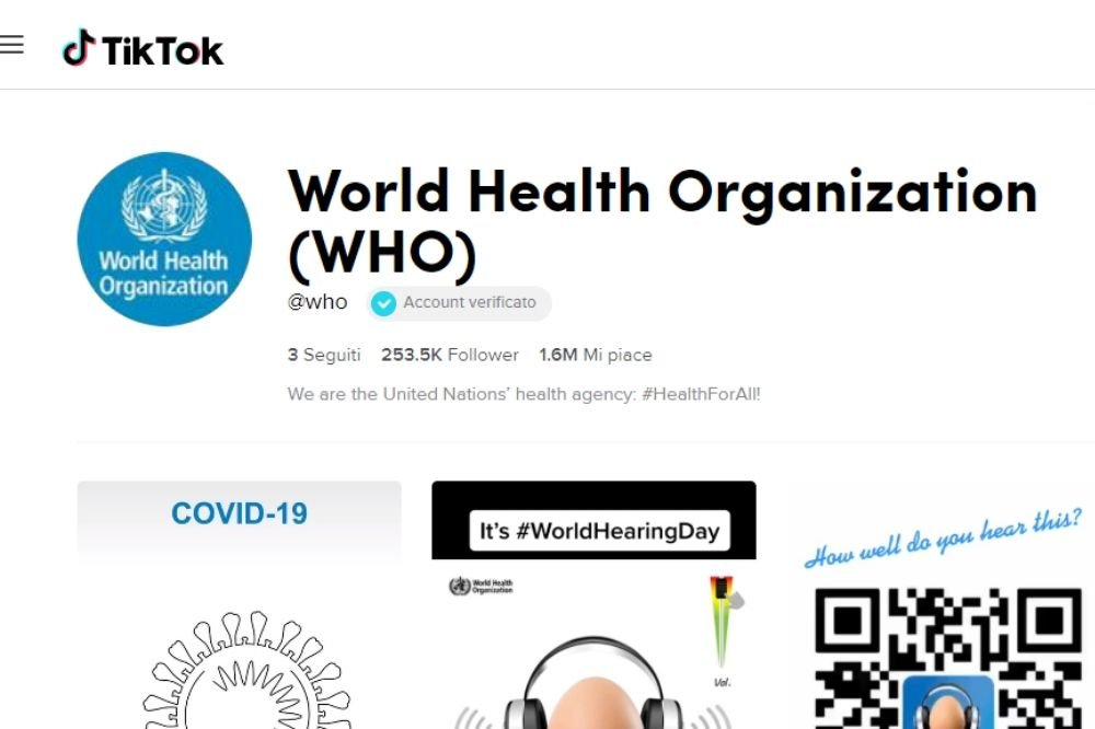 Coronavirus sui social: l'approdo di OMS su TikTok