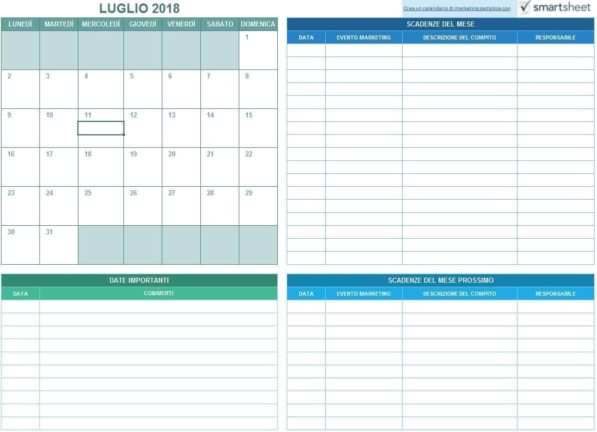 calendario di marketing esempio